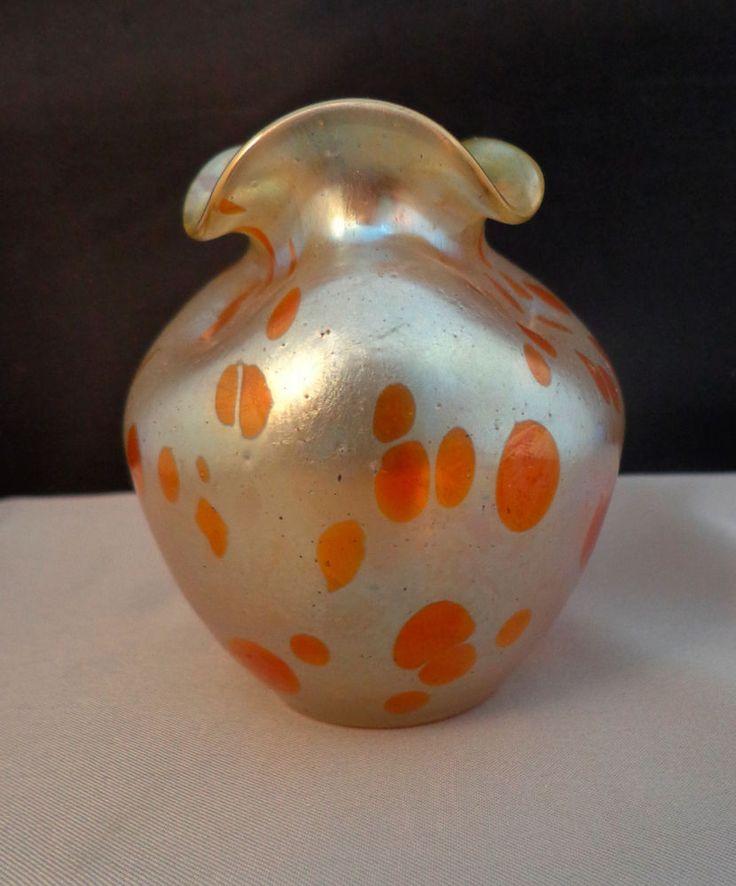 Loetz Bohemian Art Nouveau Art Glass Oil Spot Silver & Green Vase
