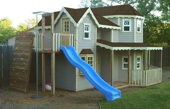 Woodmanor Play Houses Slides Instead Of Stairs