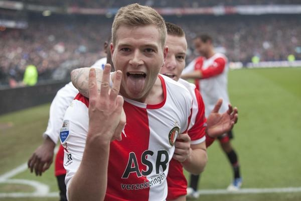 John Guidetti after scoring his third goal for Feyenoord Rotterdam against Ajax Amsterdam.