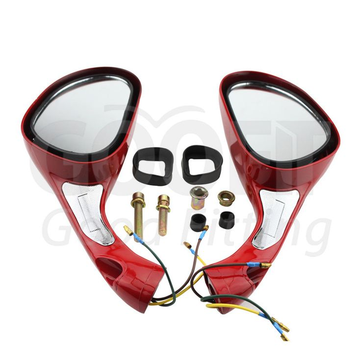 GOOFIT One Pair 8mm Rearview Mirror for GY6 50cc 60cc 80cc 125cc 150cc 250cc Scooters Moped Motorcycle Red