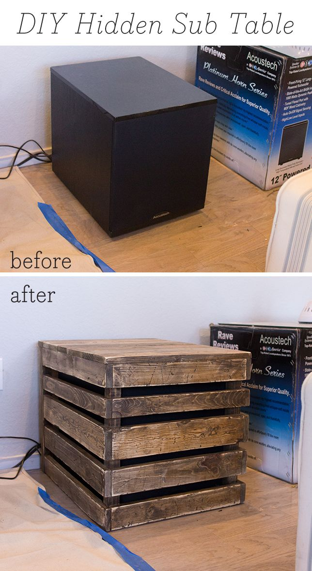 How to hide an unsightly subwoofer with a super simple, fast & inexpensive DIY side table!