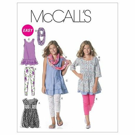 McCall's Patterns M6275 Size PLS 10.5-12.5-14.5-16.5 Girls'/ Girls' Plus Dresses, Scarf and Leggings, Pack of 1, White