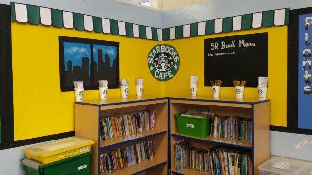 Classroom book corner displays. 'Starbooks cafe'