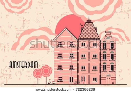 vector card with the image of buildings. Houses in the power of old Europe. Amsterdam. abstract background. can be used for the design of websites, postcards, etc.