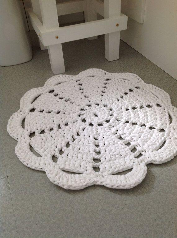 Gorgeous Crochet Rug Using Zpagetti TShirt by susanatdandeliondays, £29.00