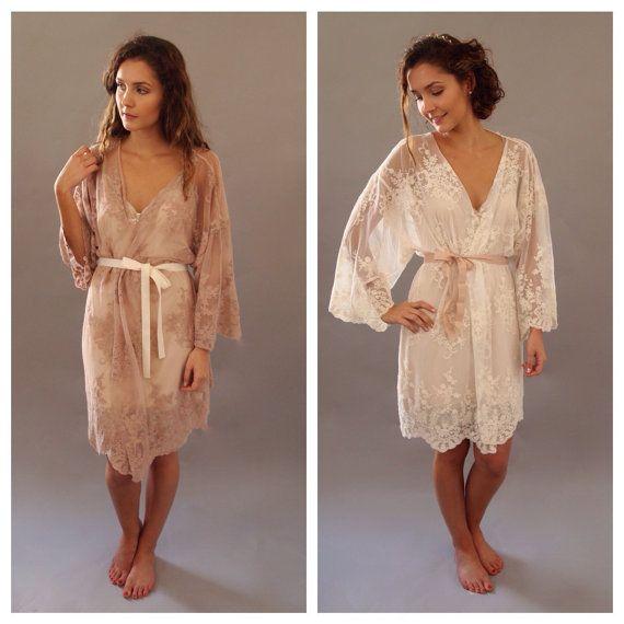 HELENA Kimono Wedding day lingerie Blush by ThisModernLoveBridal