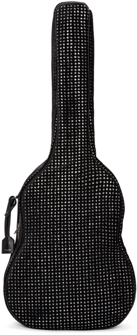 Saint Laurent - Étui pour guitare en velours à paillettes noir