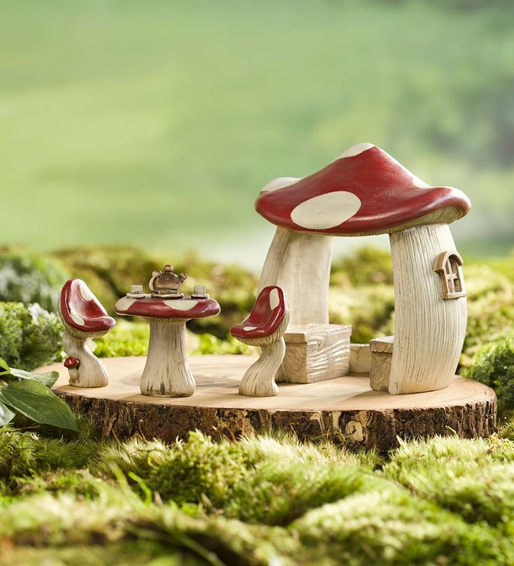 Youu0027ll love adding our Miniature Fairy Garden Mushroom Set to your landscape! A mushroom gazebo and picnic table set is just what your fairy garden needs. & 66 best fairy furniture images on Pinterest | Fairy gardening ...