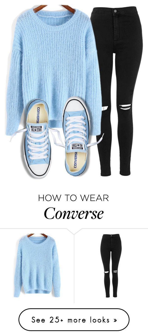 Adorable Sky Blue Knit Sweater w/ distressed Black Jeans and the Sky Blue  Converse add the icing to the cake 😊😋
