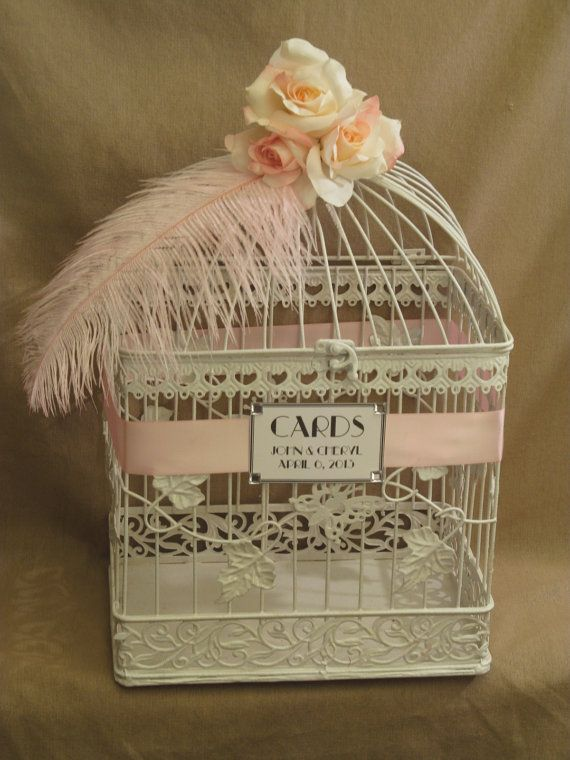 on sale wedding card box ostrich feather white bird cage card holder with