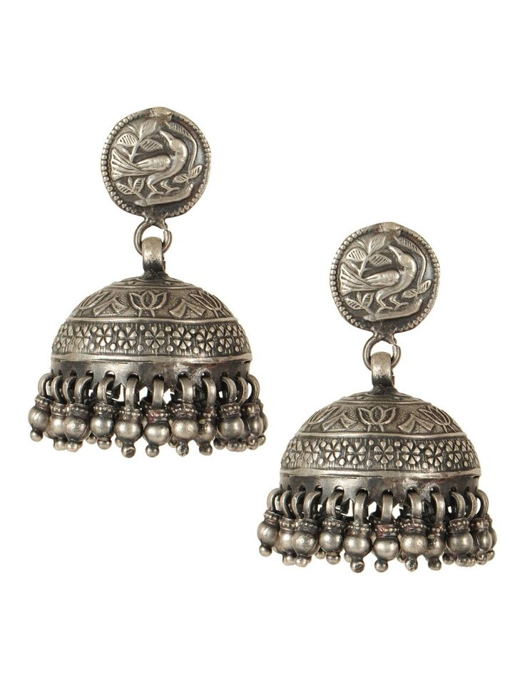 Lotus Silver Jhumkas #handmade #jewelry #accessories #bird