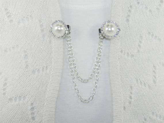 Rhinestone sweater cardigan clips with silver chain