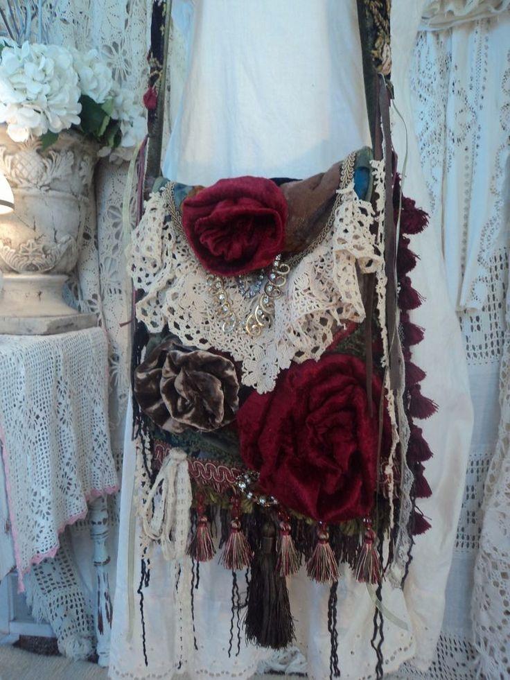 Handmade Vintage Velvet Quilt Cross Body Bag Fringe Boho