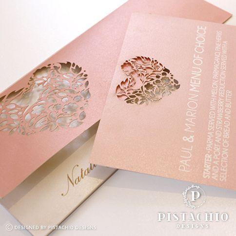 Heart laser design wedding invitation by www.pistachiodesigns.co.za