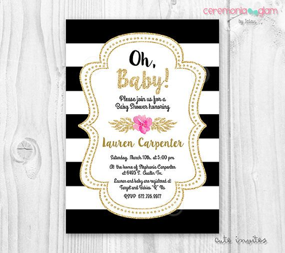 the 29 best images about baby girl shower on pinterest | chanel, Baby shower invitations
