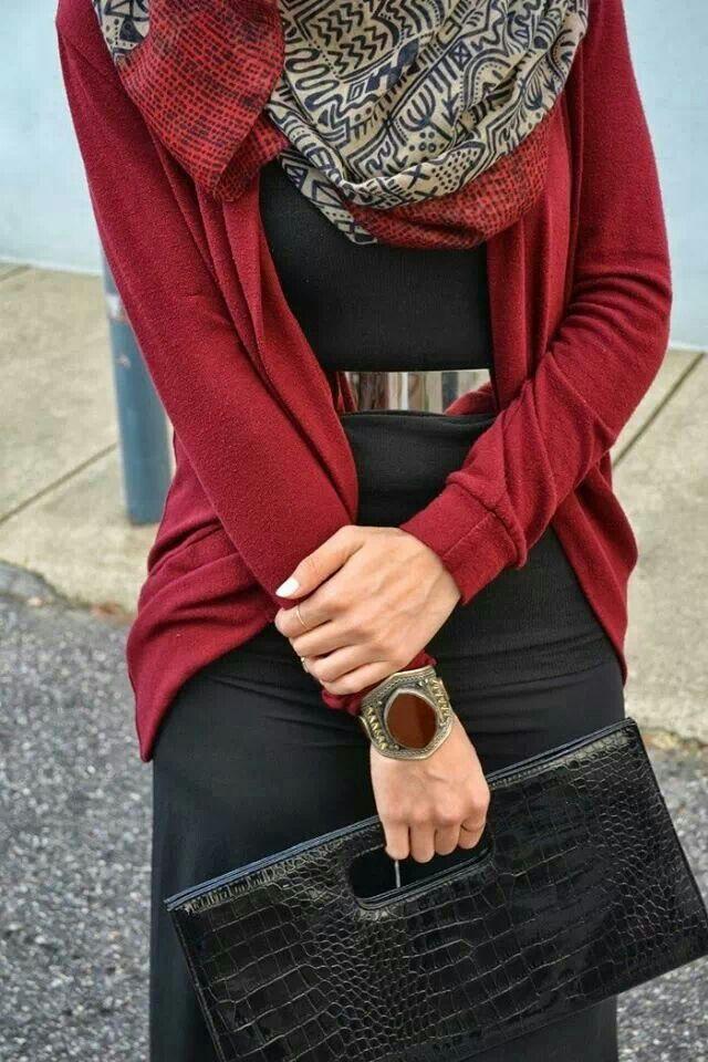 <3 red cardigan, black skirt, gold belt #hijab