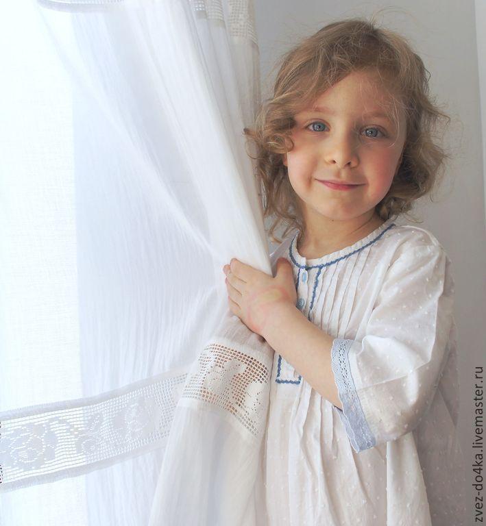 nightgown, night dress for girl Ночная сорочка из батиста Небесная - белый,в горошек,батист,хлопок,кружево хлопок