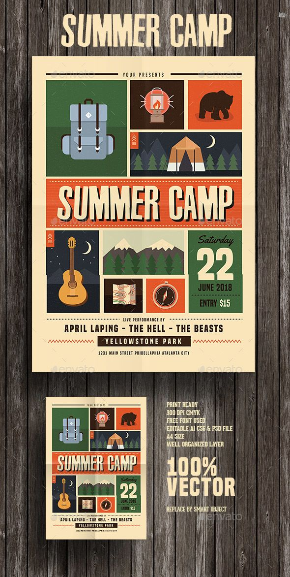 Indie Summer Camp Flyer Template PSD, Vector AI. Download here: http://graphicriver.net/item/indie-summer-camp-flyer/15951571?ref=ksioks