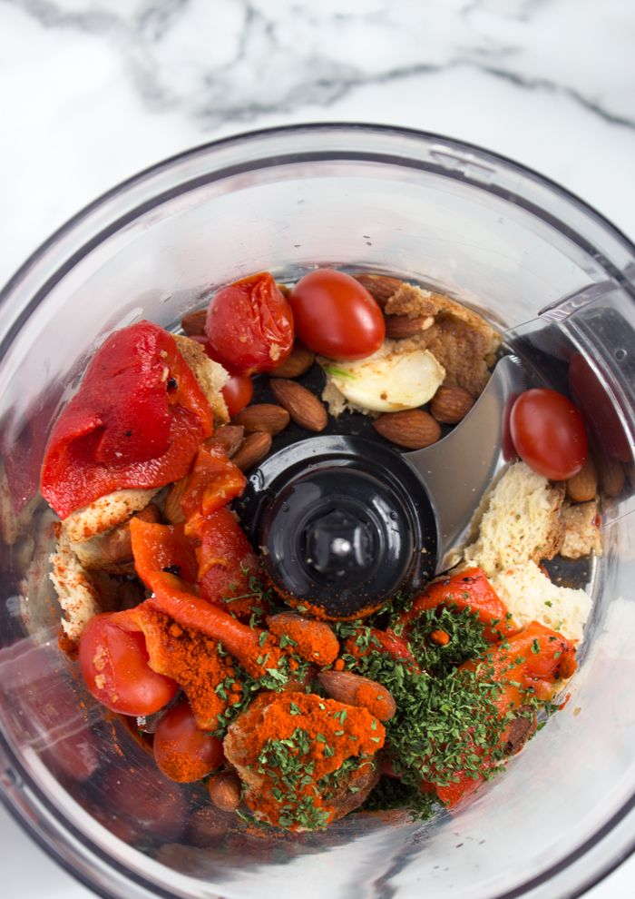 Romesco Sauce; this recipe includes cherry tomatoes - some others do not.