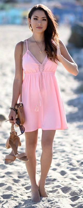 Jessica R. + adorable + super cute blush pink beach dress + tassel detailing + embroidered plunge neck + With or without heels +look is perfect for beach chic!  Dress/Heels: Charlotte Russe.