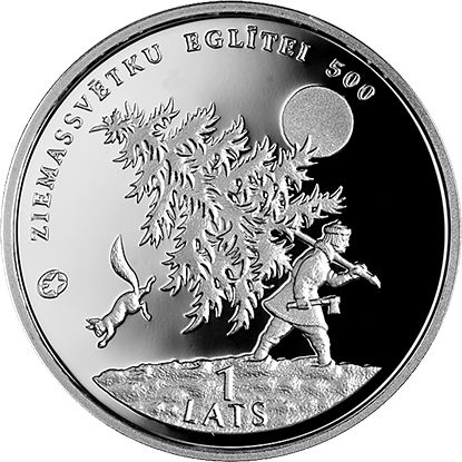 Latvian collector coins. Baltics, Northern Europe. Christmas tree 500 years