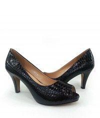 Deep Sea Serpent - Womens black python peeptoe mid heels$129.00 #shoeenvy #shoes #fashion #instalove #pretty #ethical #glamorous