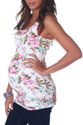 White Floral Maternity Tank