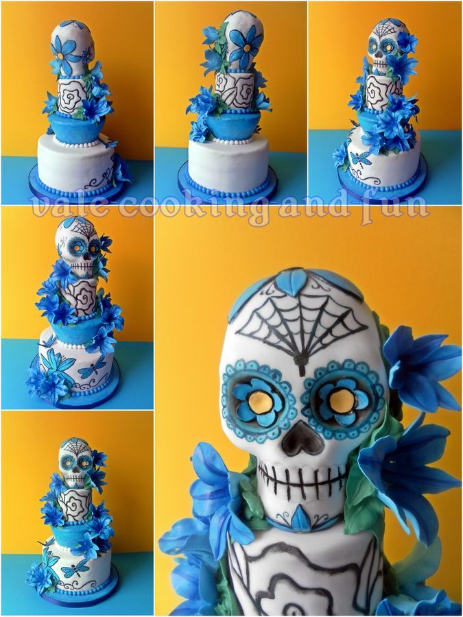 Tattoo Cake with Sugar Skull and blue lilies: