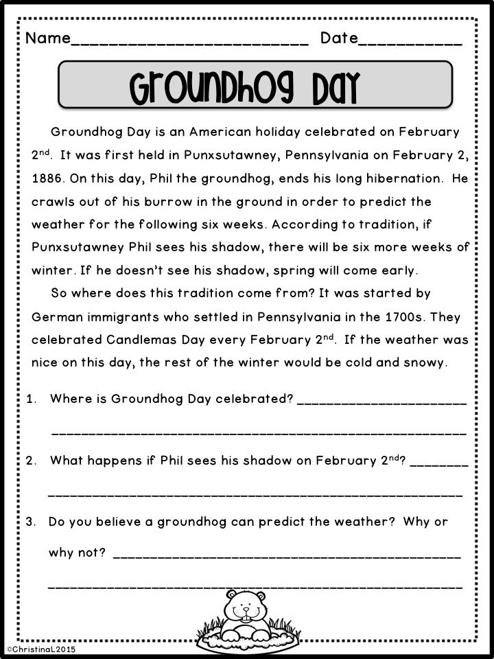 Groundhog Day  This part of  quot February Reading Passages with Comprehension Questions quot