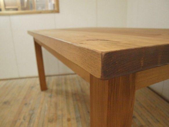 ダイニングテーブル無垢ホワイトパイン 横150cm奥行き80cm 脚取り外し可 天板厚36mm 001