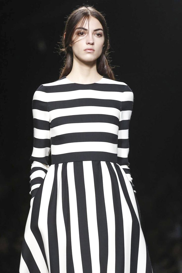 Chic Stripes - black & white striped dress, monochrome fashion // Valentino Fall 2015
