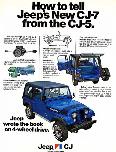 1976 Jeep CJ7 vs. CJ5 Identification Ad