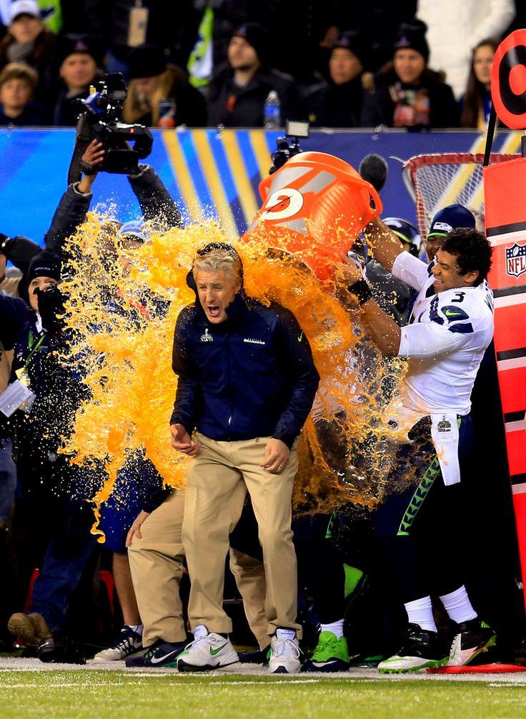 Pete Carroll - Russell Wilson.. Orange Gatorade ~~ Seattle Seahawks 2014 Super Bowl Champions