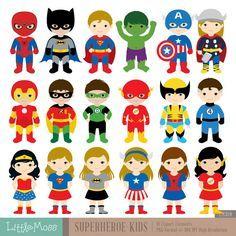 18 Superheroes Characters Digital Clipart Superhero by LittleMoss