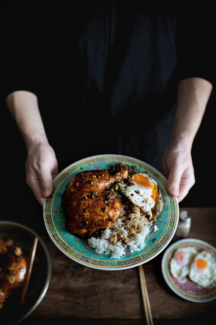 mama's braised chicken legs on rice with fried chili capers