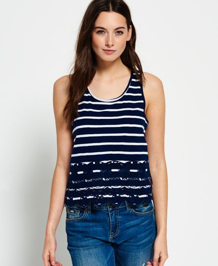 Superdry Shore Broderie Shell Top  Navy