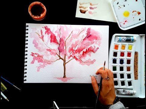 Basit ve güzel görünen bir suluboya uygulaması adım adım anlatım How to draw watercolor tree - YouTube