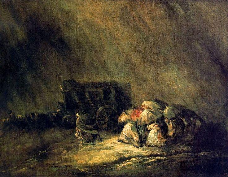 La diligencia bajo la tormenta - Eugenio Lucas Velázquez.
