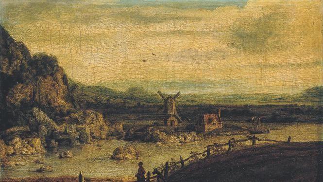 Segers - Landschap met Windmolen, canvas, 20 x 30.5 cm, ca. 1620-25.