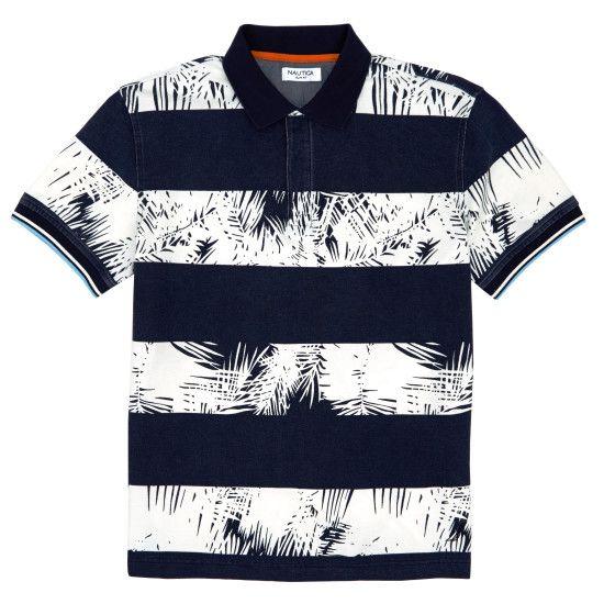 Slim Fit Palm Print Rugby Stripe Polo Shirt - Snow White | Nautica