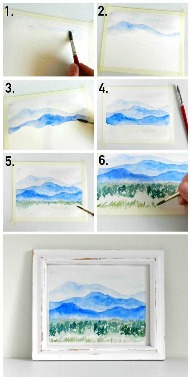 Lernen Sie, eine Aquarell-Bergwelt zu malen #aqua…