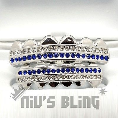 iced out grillz | Silver Iced Out GRILLZ Blue Stripe CZ Icy Bling Mouth Teeth Caps Hip ...