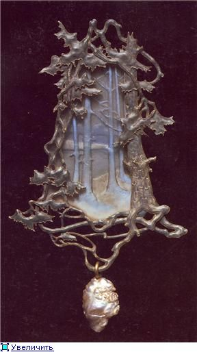 Lalique 1899-1900 signed 'Landscape with Trees on the Bank of a Lake' Pendant. A shaped pendant depicting a landscape with a grove of trees on the bank of a lake, all of molded glass. A tree of mauve enamel/ cast & chased gold, w/it's trunk to the left, branches & leaves above & to the right, w/roots below, frames the composition. A baroque pearl hangs from the roots. Purchased  from the artist in 1900, Calouste Gulbenkian