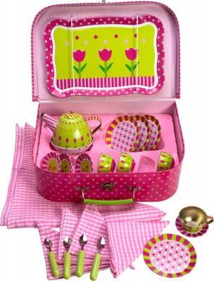 Bigjigs toys Ružový kvetinkový čajový set v kufríku