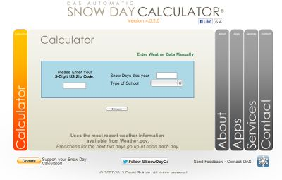 It's just too fun not to share. It's the snowday calculator! After entering your zip code, the # of days your school has already been closed this year and the type of school you teach at, you will be given a percentage letting you know the odds of a weather-related school closing.