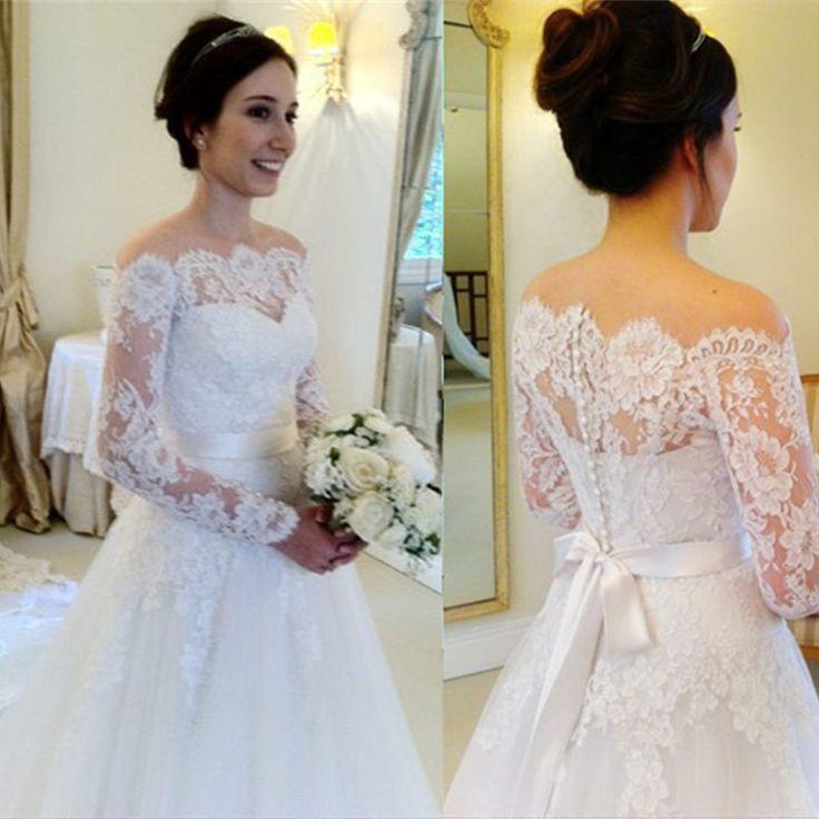 Vestido de casamento vestido de noiva manga longa elegant long sleeve wedding gowns lace vintage wedding dress a line