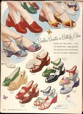 """Backless Beauties in Butterfly Colors"" - 1940s shoe advertisement"