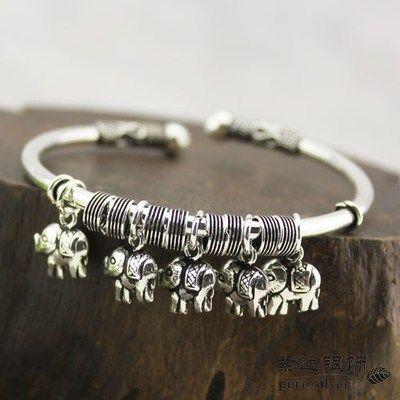 Retro Handmade 925 Sterling Silver Five Baby Elephants Bracelet - Wishbop.com