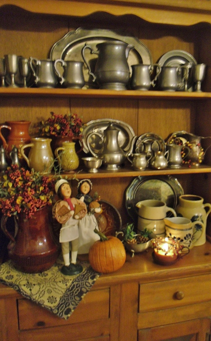 Kitchen Hutch Decorated For Fall Like The Pewter Tea Set