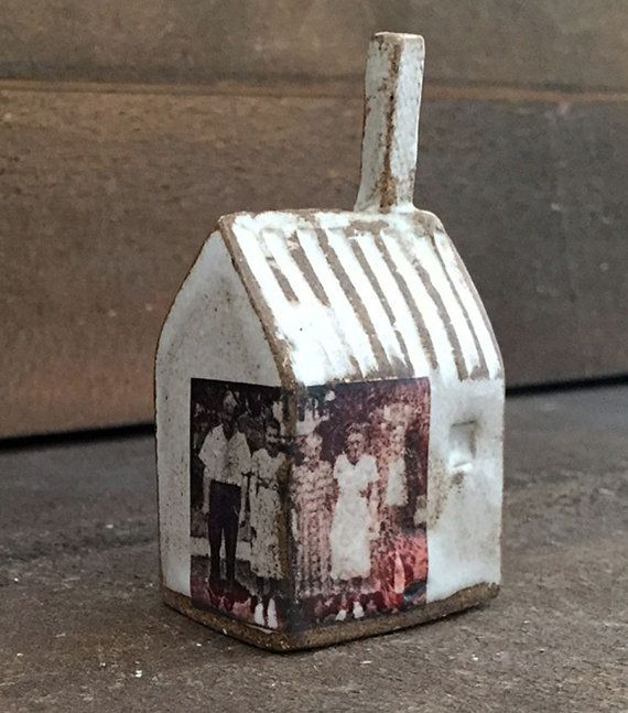 Vintage Ceramic Small House with Family Photo Memory